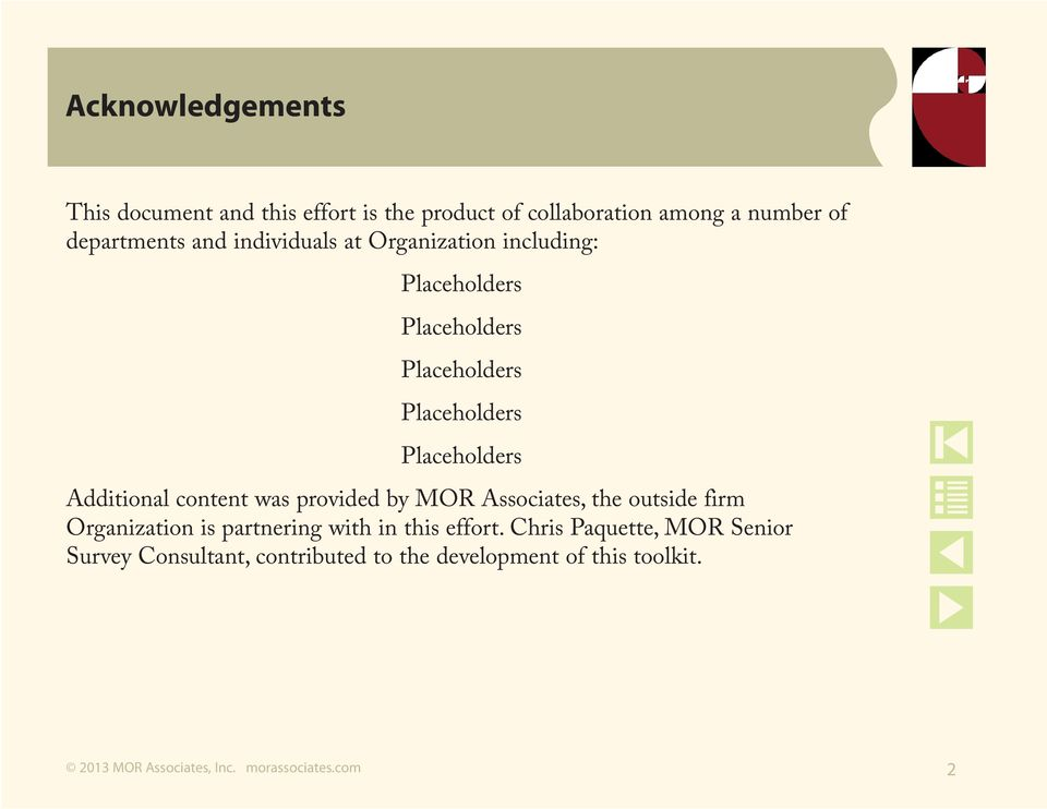 Placeholders Additional content was provided by MOR Associates, the outside firm Organization is