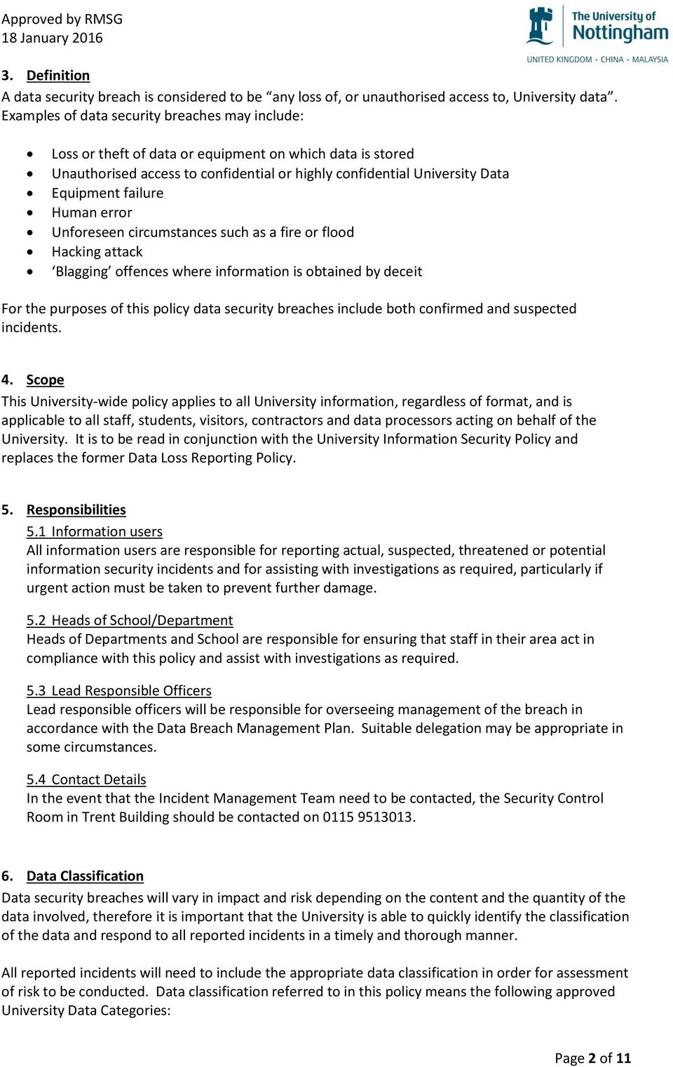 Data Security Breach Incident Management Policy Pdf Template Sample Human Error Unforeseen Circumstances Such As A Fire Or Flood Hacking Attack Blagging Offences Where Information