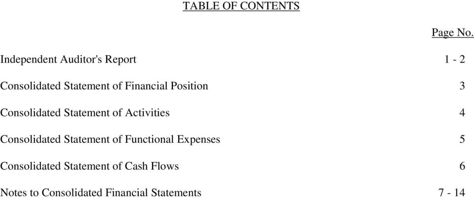 Position 3 Consolidated Statement of Activities 4 Consolidated