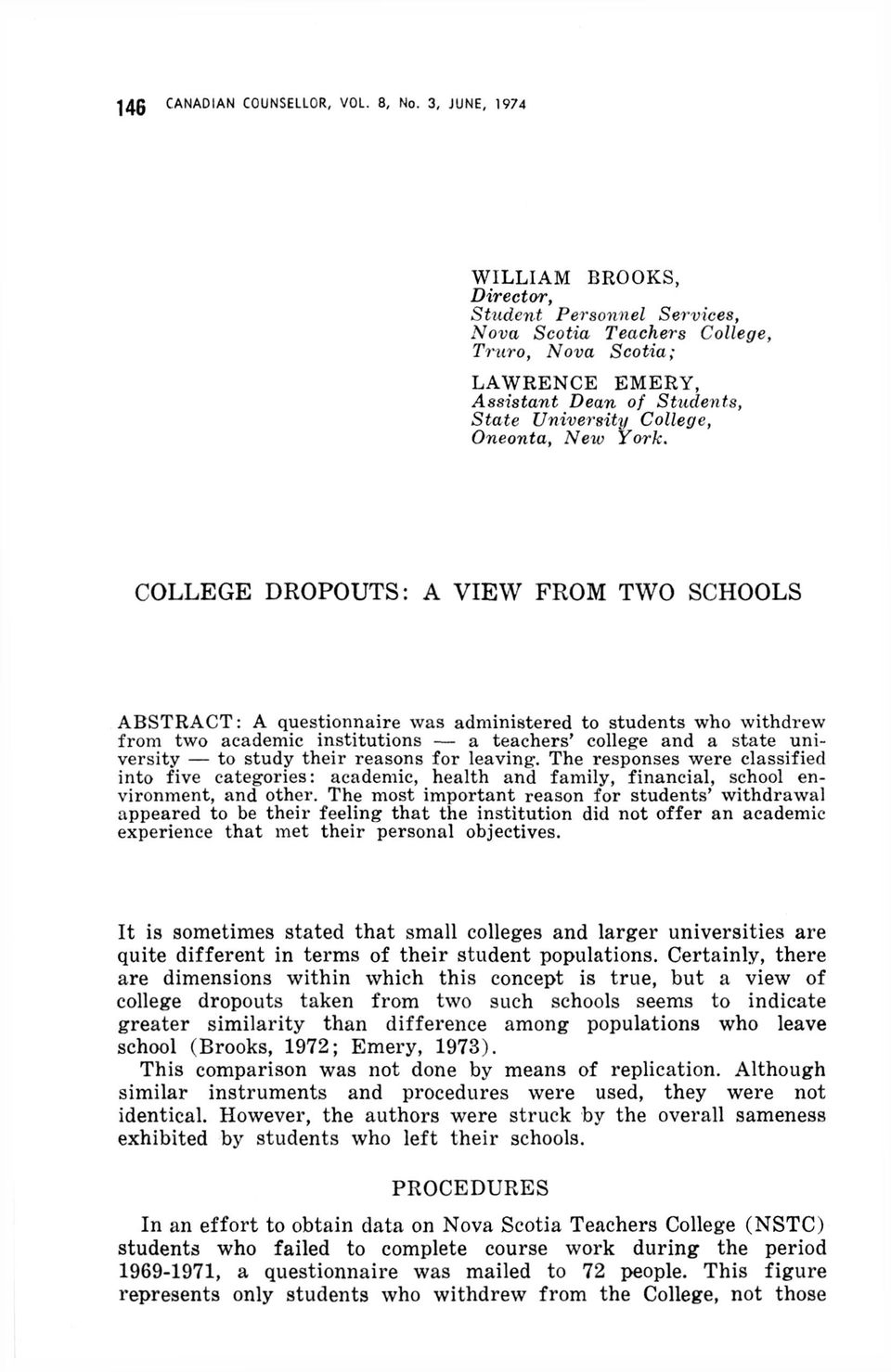 COLLEGE DROPOUTS: A VIEW FROM TWO SCHOOLS - PDF