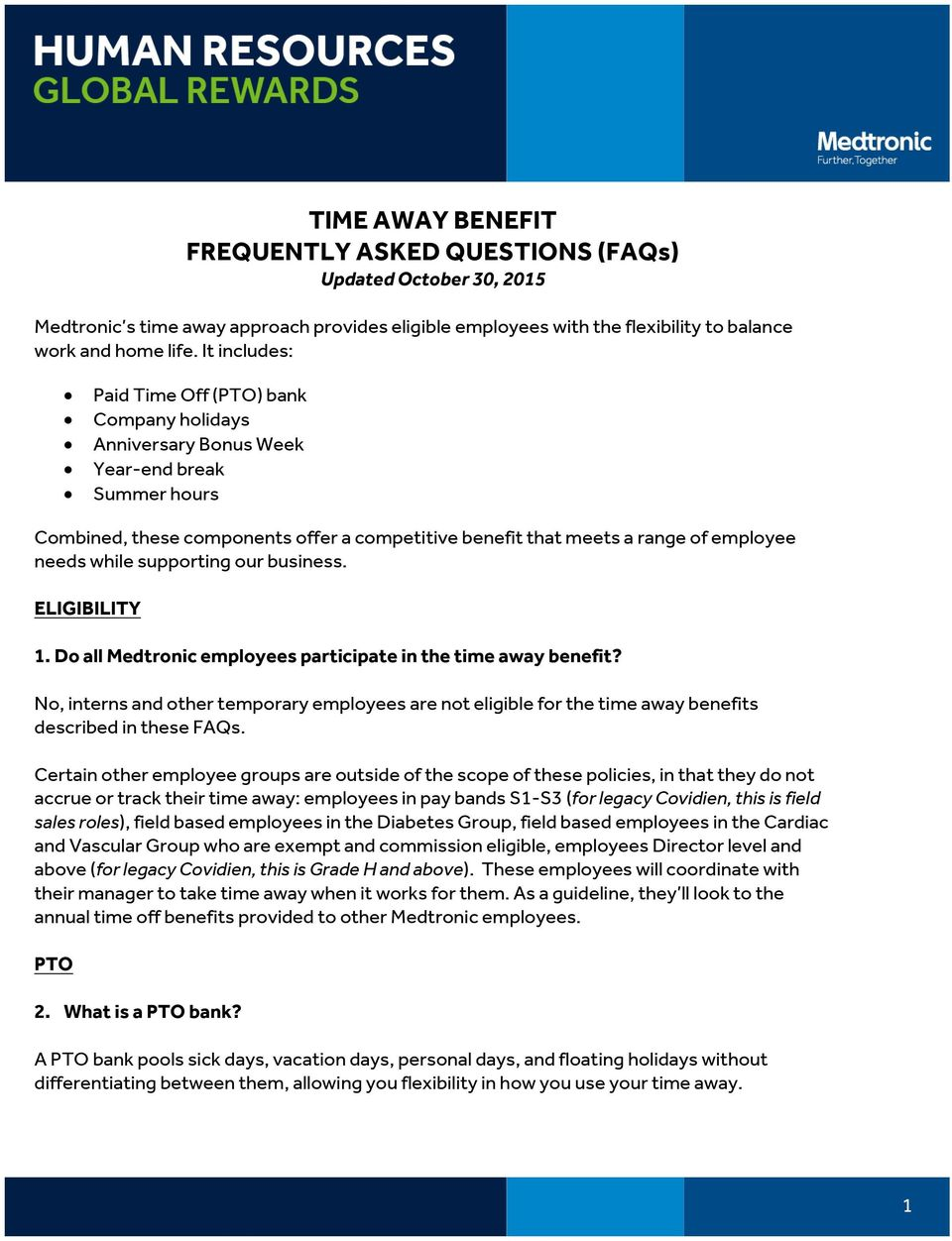 TIME AWAY BENEFIT FREQUENTLY ASKED QUESTIONS (FAQs) Updated