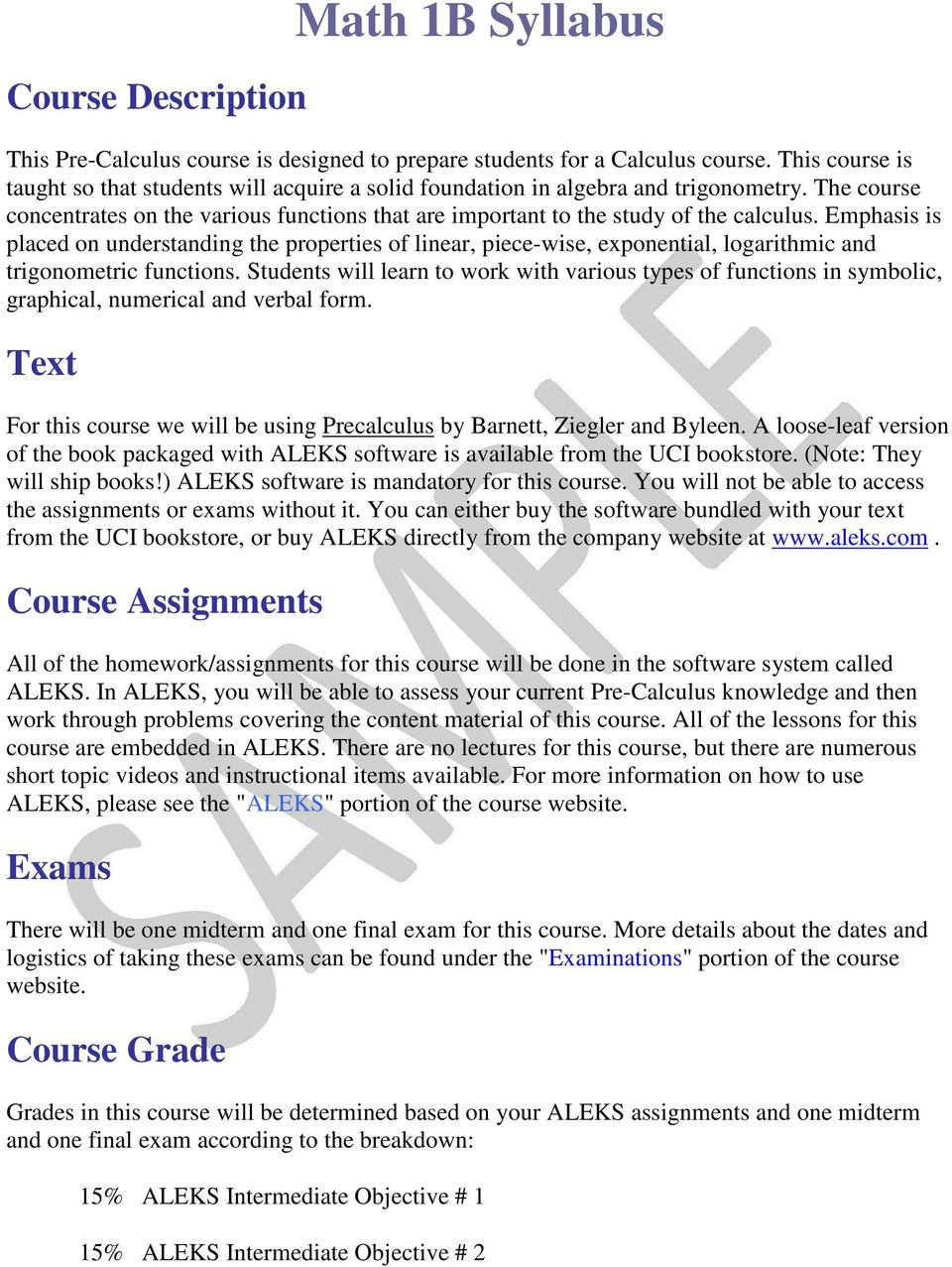 Math 1B Syllabus  Course Description  Text  Course