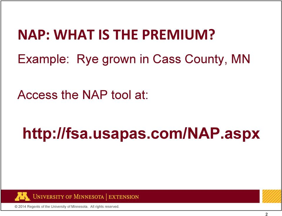 County, MN Access the NAP tool