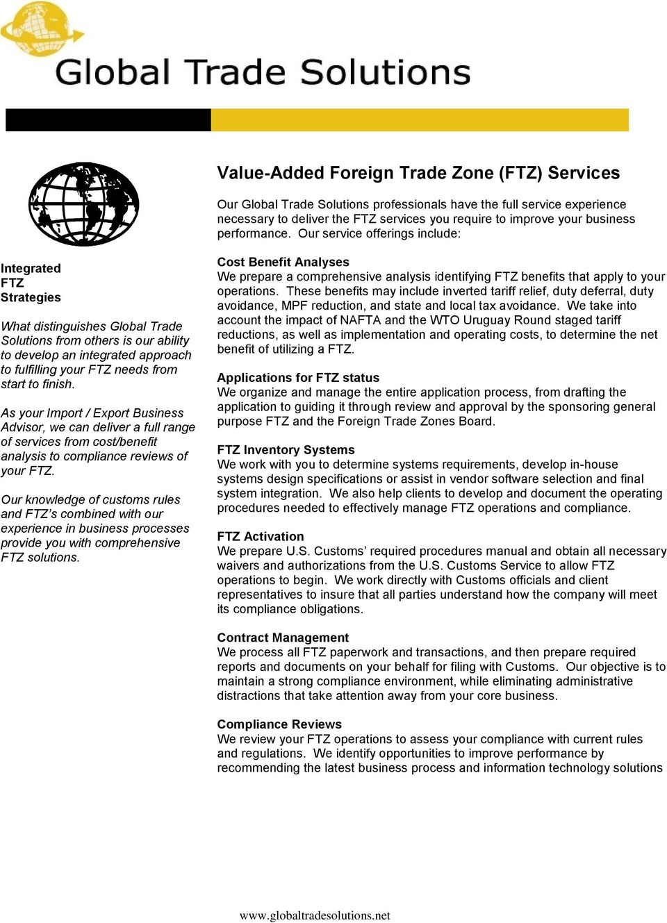 Services Summary TRADITIONAL CUSTOMS SERVICES  Instruments