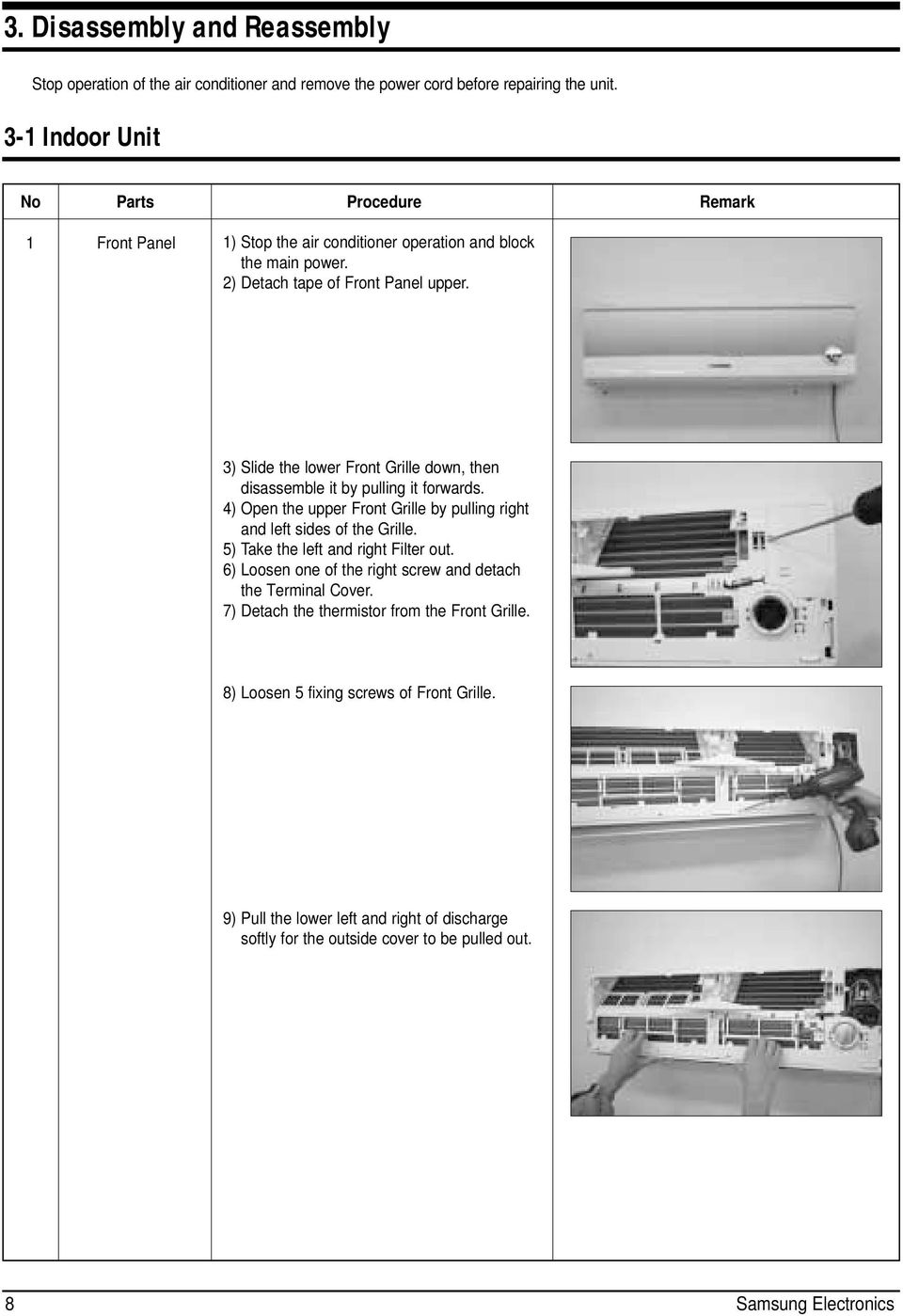 Service Manual Air Conditioner Indoor Unit Sh09bpd Sh12bpd Outdoor Zanussi Washing Machine Wiring Diagram Error Code 3 Slide The Lower Front Grille Down Then Disassemble It By Pulling Forwards