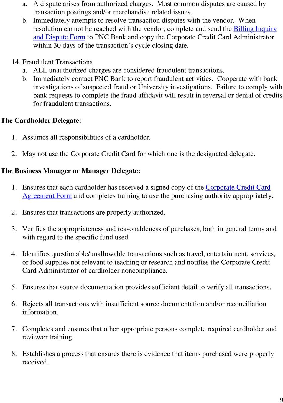 University Policy Corporate Credit Card Policy And Procedures Pdf