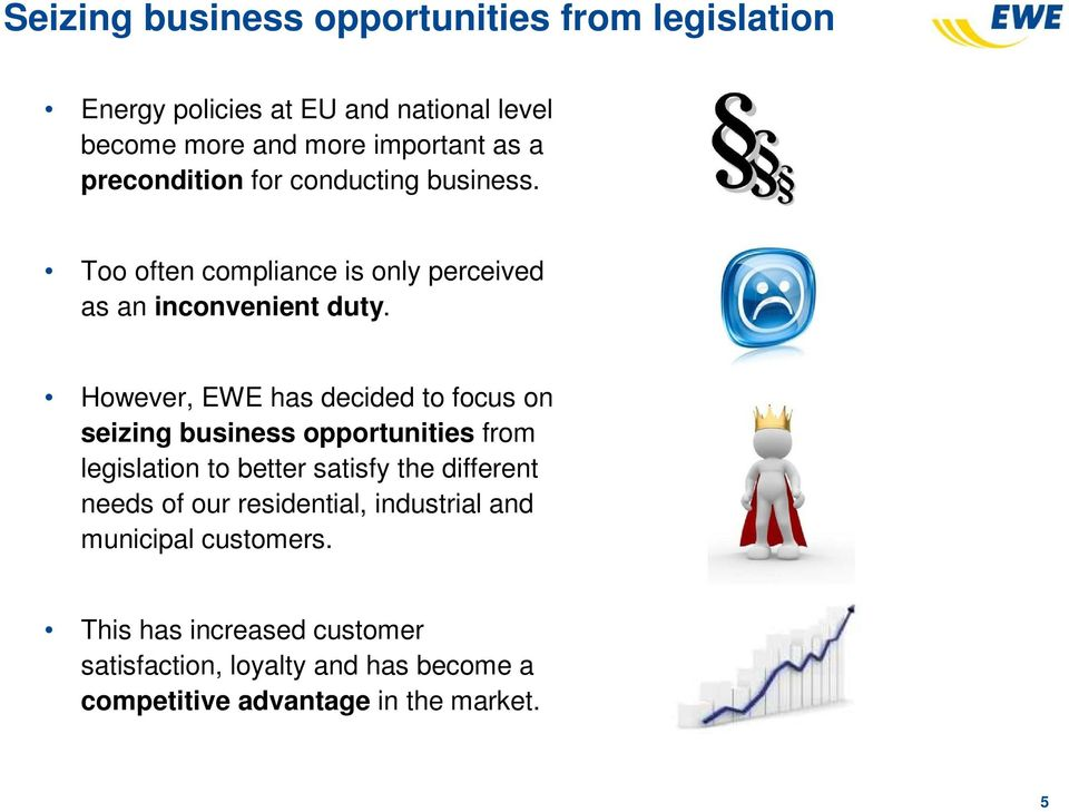 However, EWE has decided to focus on seizing business opportunities from legislation to better satisfy the different needs of