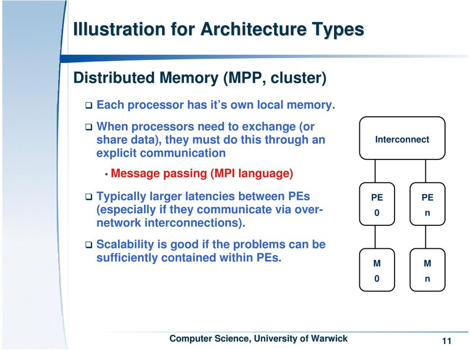 passing (MPI language) Interconnect Typically larger latencies between PEs (especially if they communicate via
