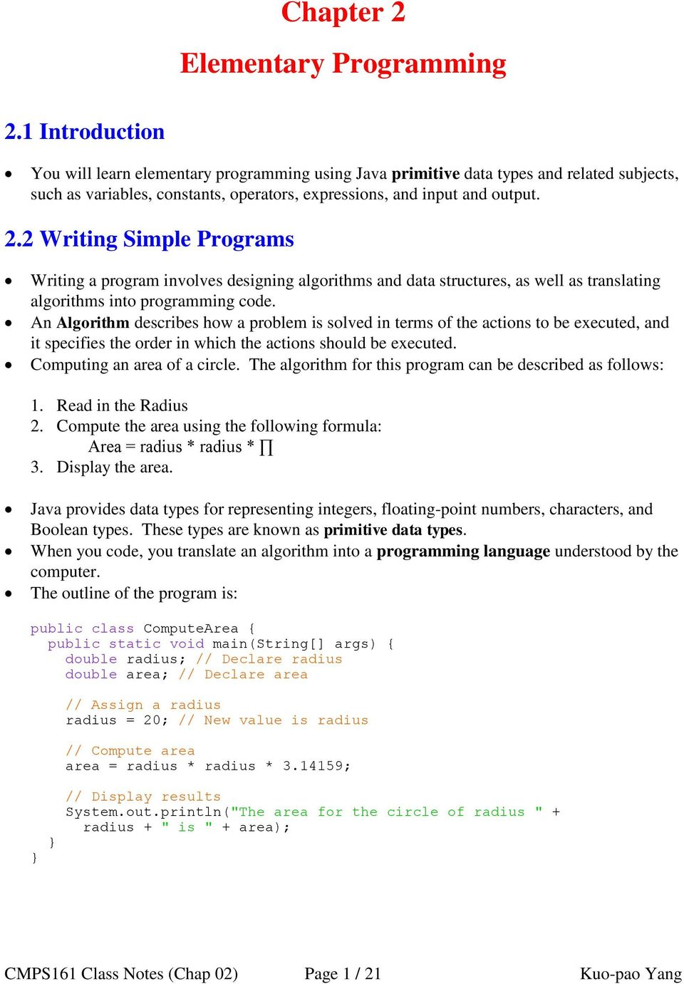Chapter 2 Elementary Programming - PDF