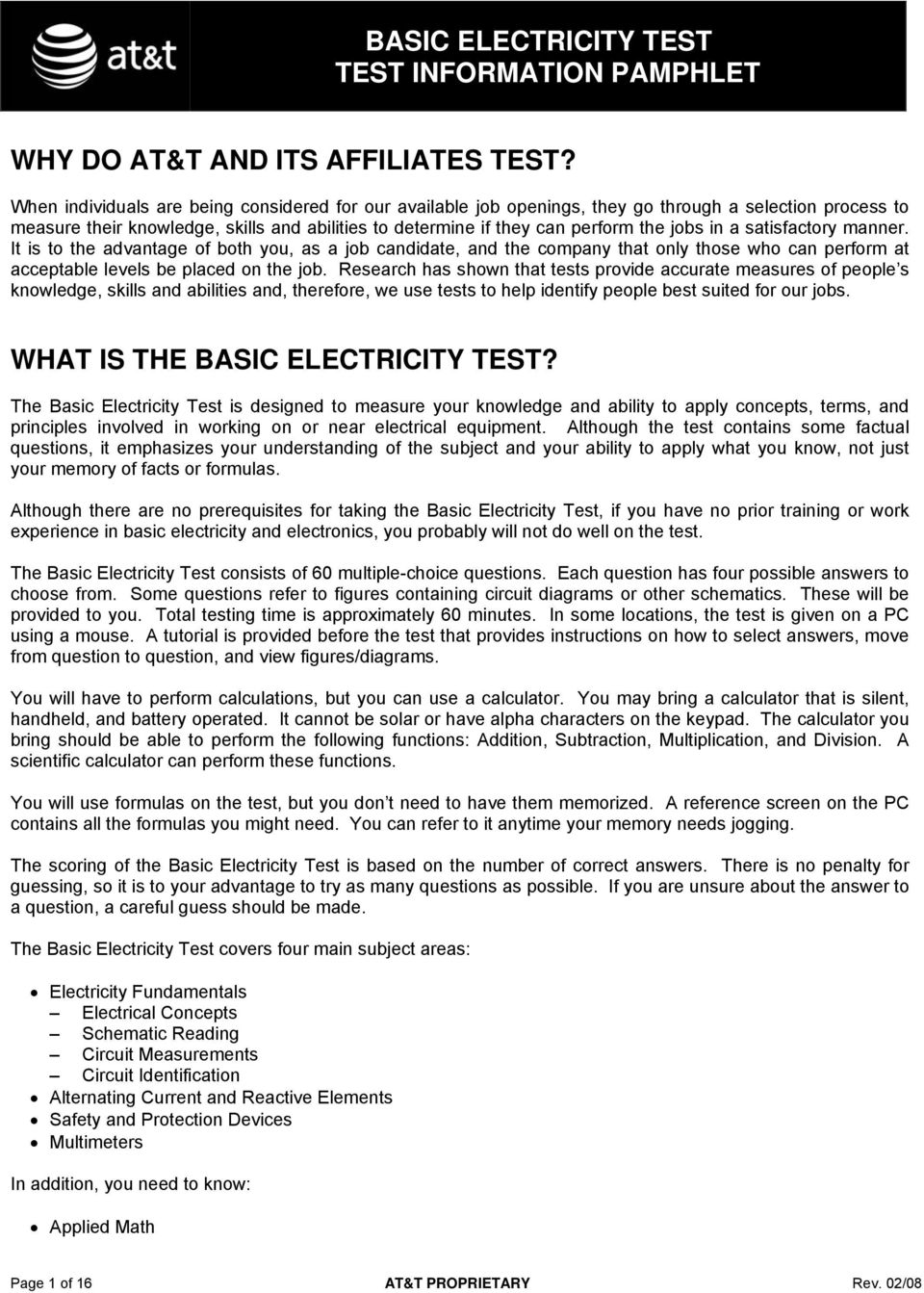 Basic Electricity Test Information Pamphlet Pdf Simple Ac Circuit Calculations Measurements A Satisfactory Manner It Is To The Advantage Of Both You As Job
