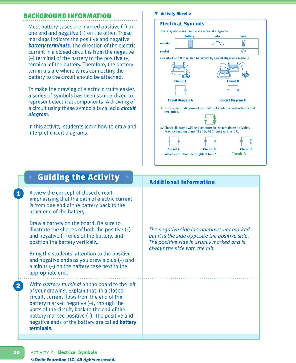 Electrical Symbols Preparation Objectives Schedule Vocabulary Circuit Diagram Positive Negative Therefore The Battery Terminals Are Where Wires Connecting To Should Be