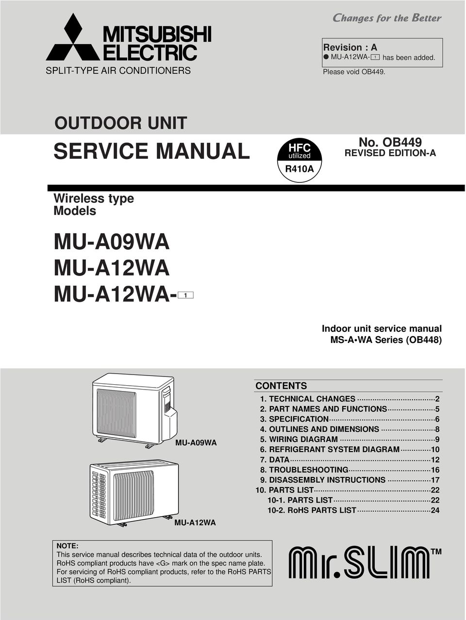 Service Manual Mu A09wa A12wa 1 Outdoor Unit No Ob449 Wiring Diagrams Outlines And Dimensions 8 5 Wirin Diaram 9 6 Refrierant System 0 7
