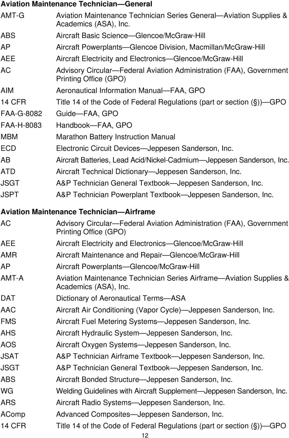 AVIATION MAINTENANCE TECHNICIAN GENERAL, AIRFRAME, AND