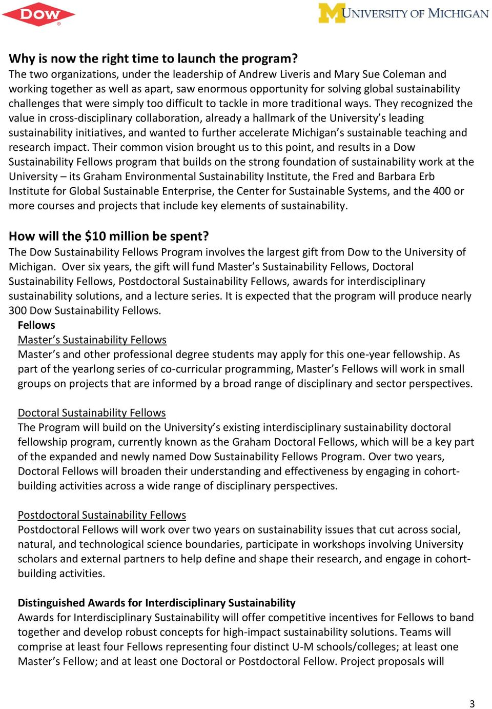 Dow Sustainability Fellows Program at the University of