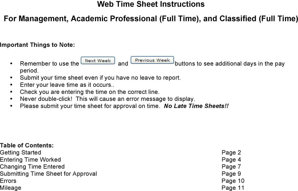 Web Time Sheet Instructions For Management, Academic Professional