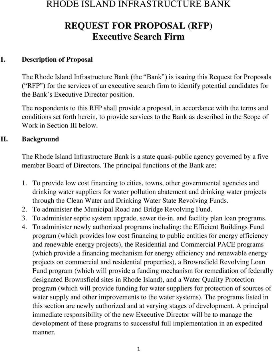 RHODE ISLAND INFRASTRUCTURE BANK  REQUEST FOR PROPOSAL (RFP
