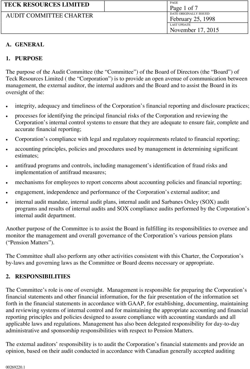 TECK RESOURCES LIMITED AUDIT COMMITTEE CHARTER - PDF