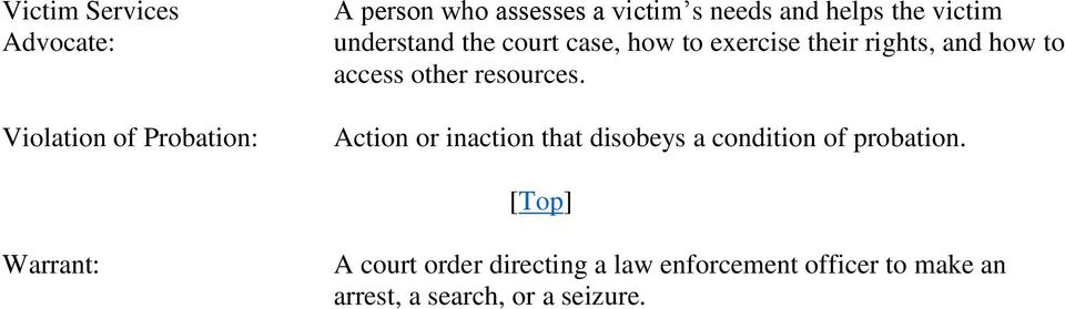 access other resources. Action or inaction that disobeys a condition of probation.
