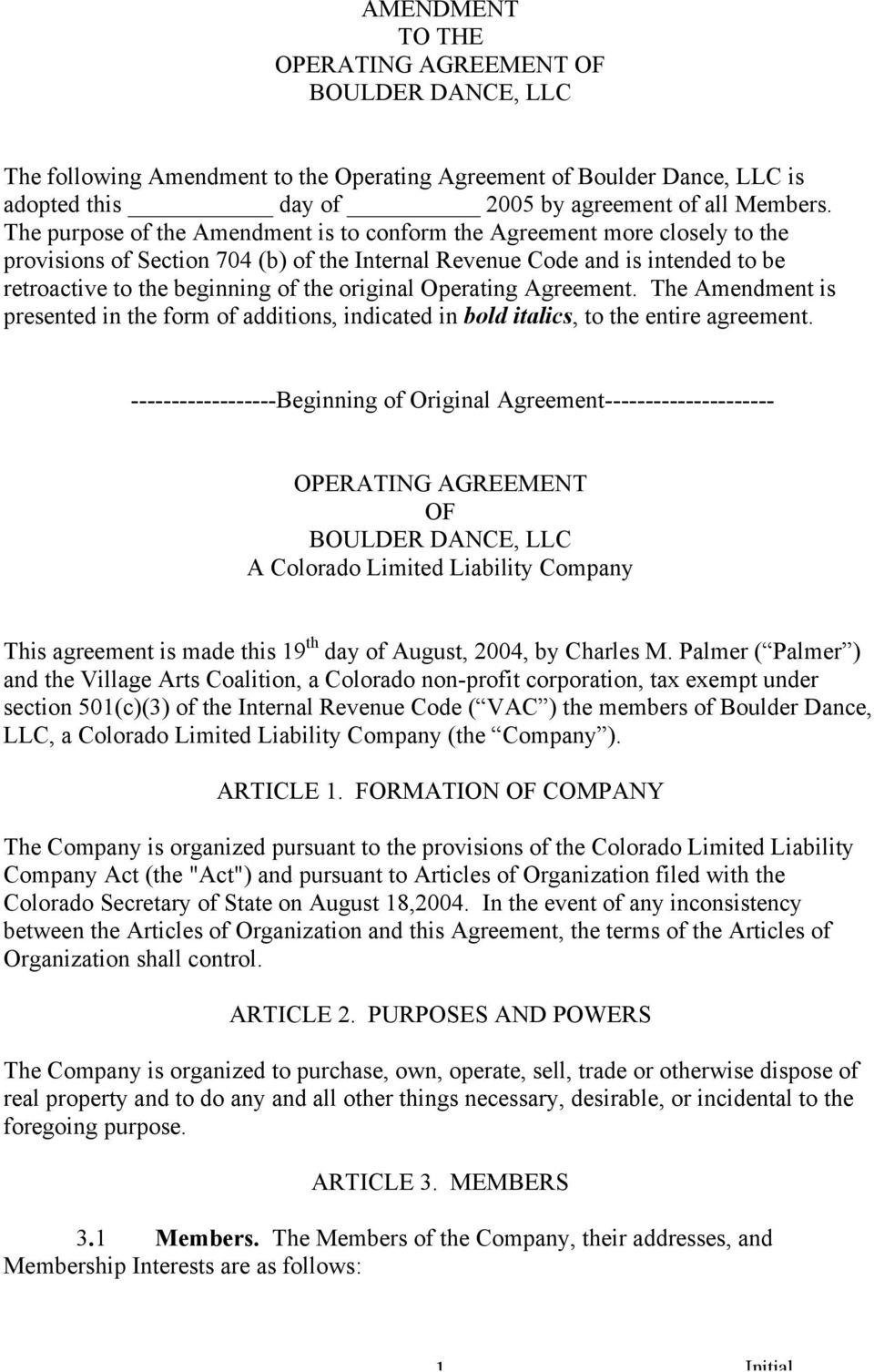Amendment To The Operating Agreement Of Boulder Dance Llc Pdf