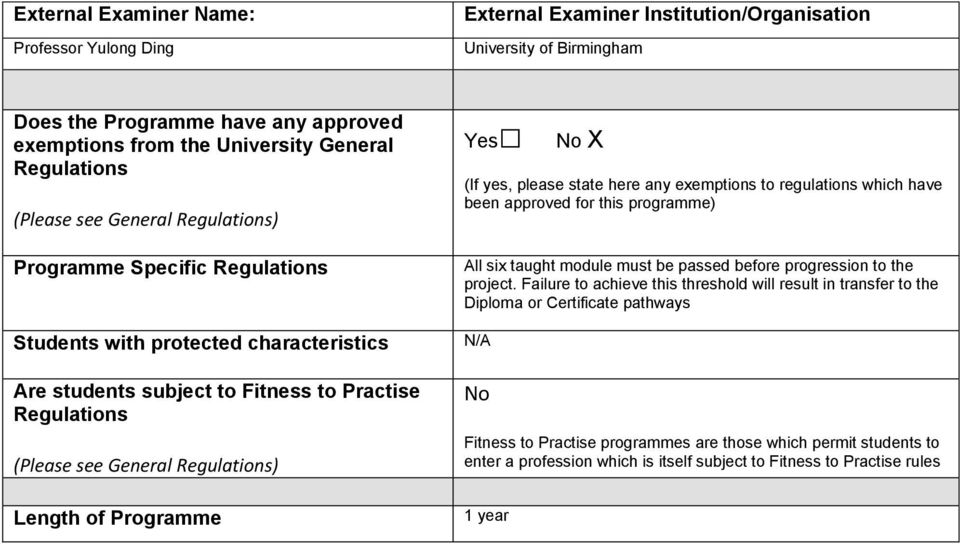 Regulations) Length of Programme Yes No X (If yes, please state here any exemptions to regulations which have been approved for this programme) All six taught module must be passed before progression