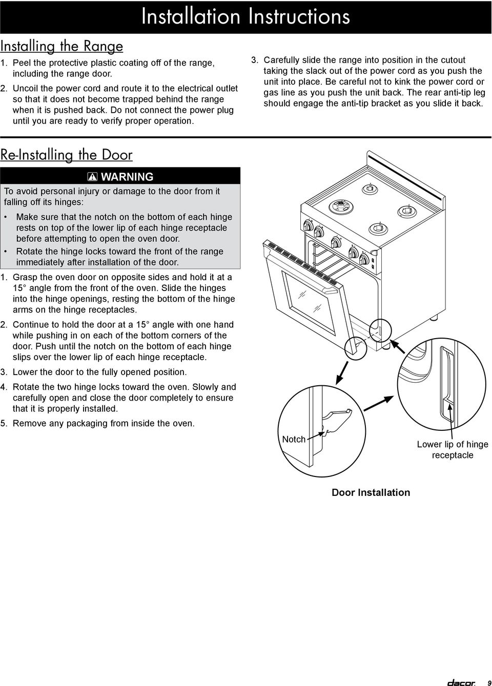 Installation Instructions Epicure 30 Inch Gas Range For Use With Electric Cord Wiring Diagram Do Not Connect The Power Plug Until You Are Ready To Verify Proper Operation