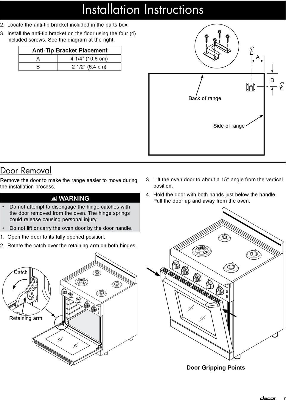Installation Instructions Epicure 30 Inch Gas Range For Use With Continuity Tester Circuit Searscom Arning Do Not Attempt To Disengage The Hinge Catches Door Removed From Oven