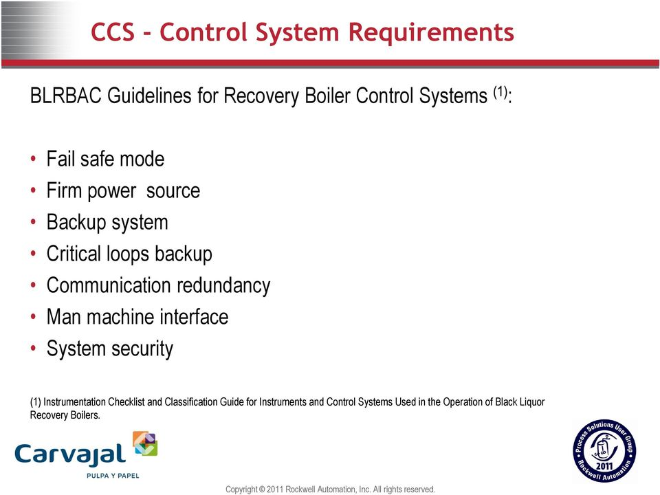 Recovery Boiler Combustion control system(ccs) & Emergency shutdown ...