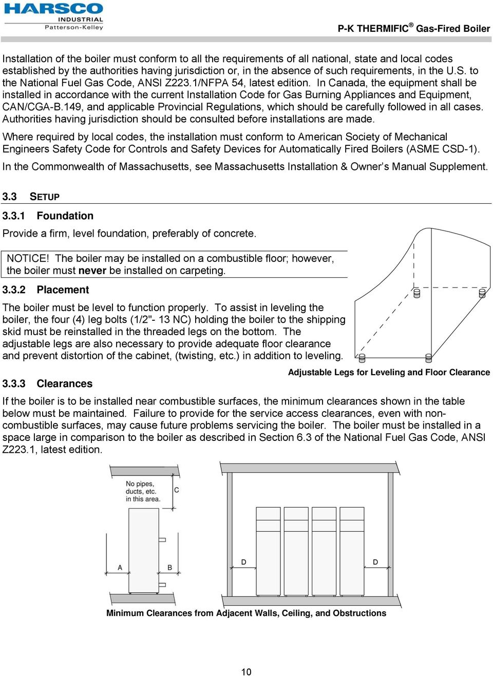P K Thermific Gas Fired Boiler Pdf Industrial Wiring Diagram In Canada The Equipment Shall Be Installed Accordance With Current Installation Code For