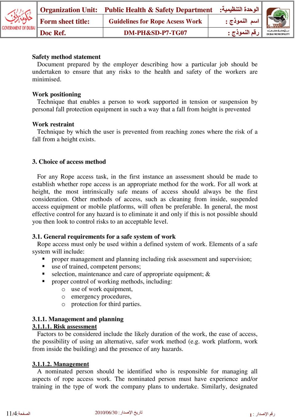Rope Access Work  Guidelines: - PDF