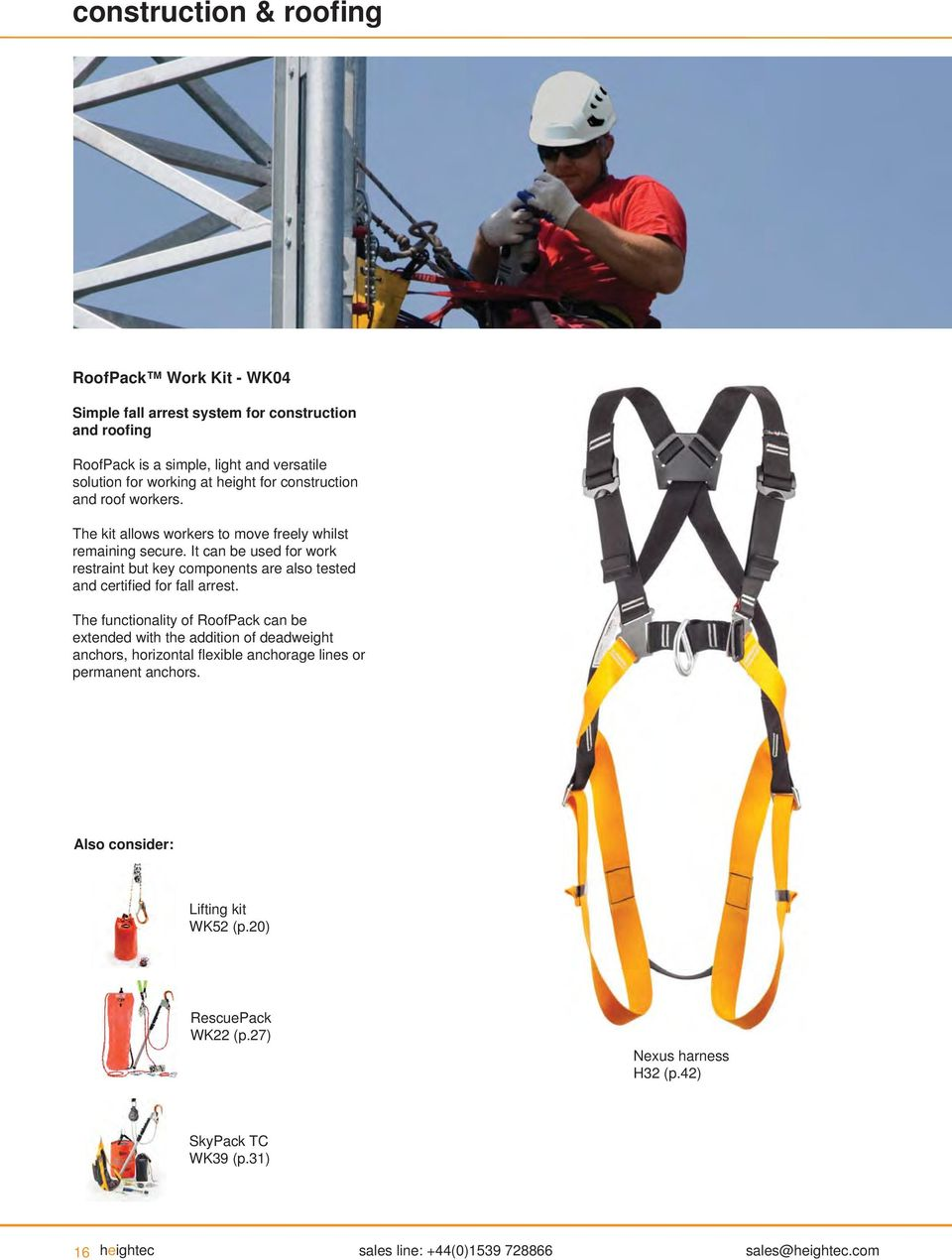 With Respect To Gravity Products For Professional Work At Height Roofing Harness Kit It Can Be Used Restraint But Key Components Are Also Tested And Certifi Ed