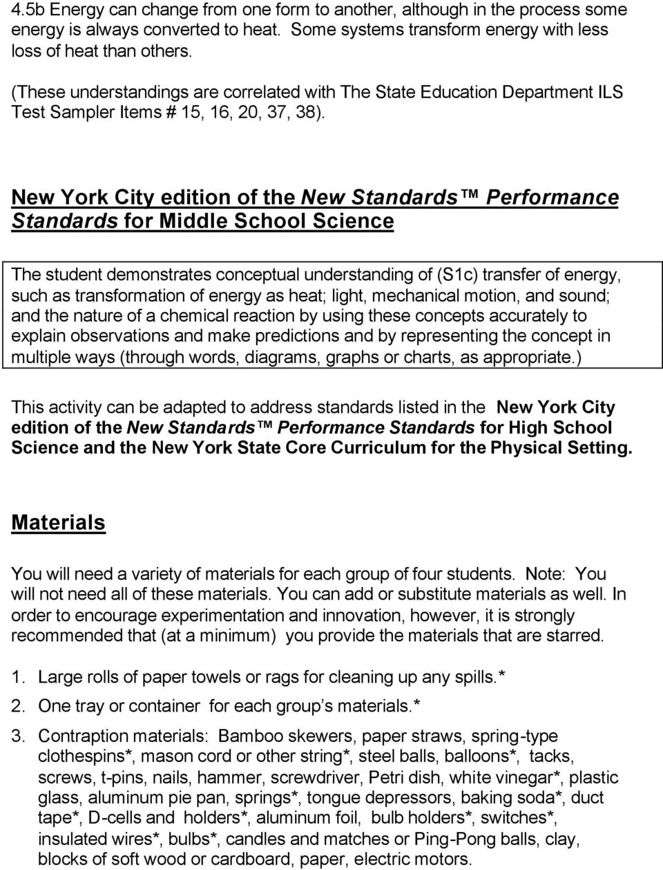 new york city edition of the new standards performance standards for middle  school science the student