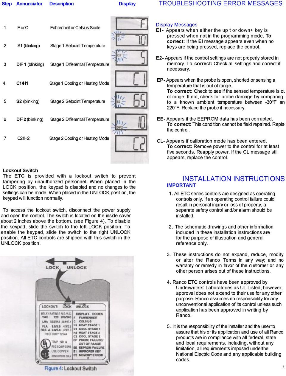 ETC TWO STAGE ELECTRONIC TEMPERATURE CONTROL - PDF Ranco Manual Thermostat Wiring Diagram on