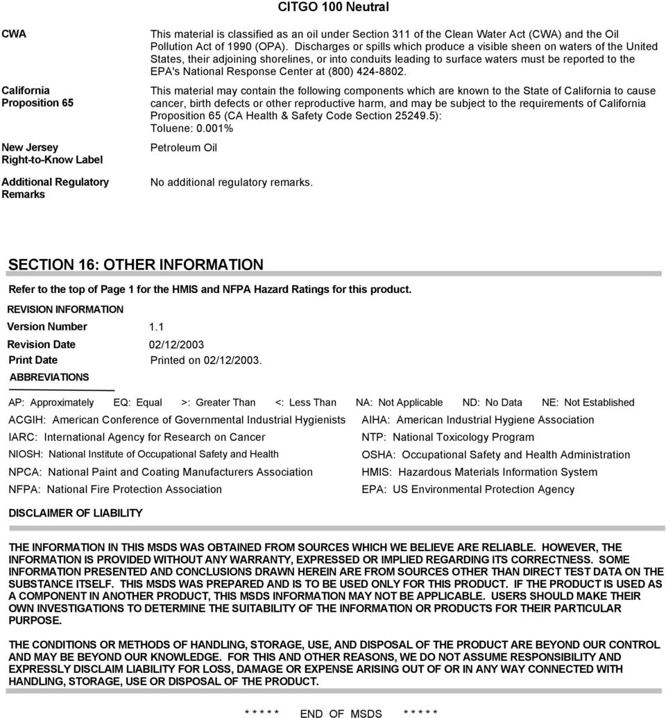 CITGO 100 Neutral  Material Safety Data Sheet  MSDS No Revision Date