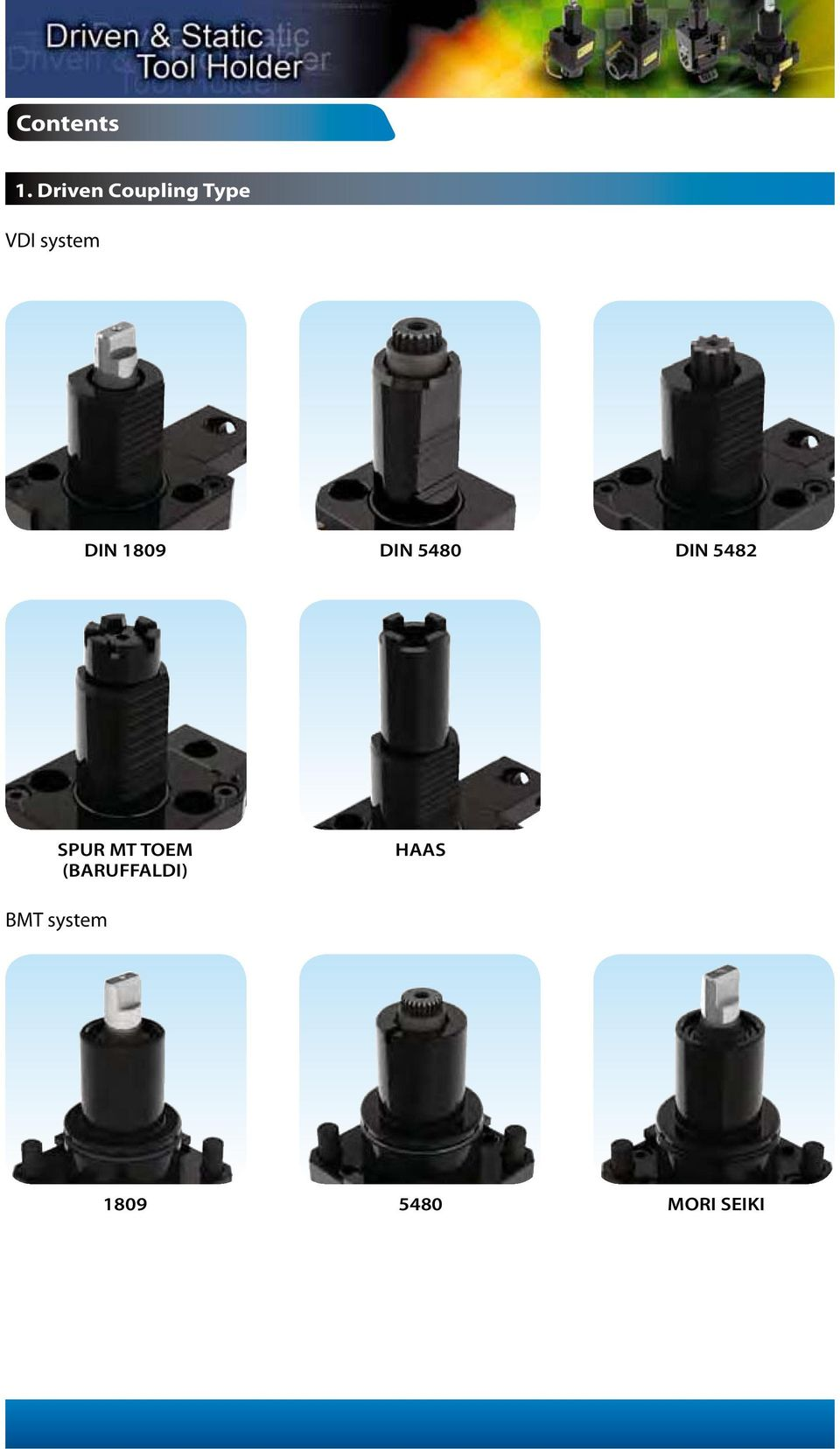 Contents  VDI system  BMT system  1  Driven Coupling Type DIN 1809