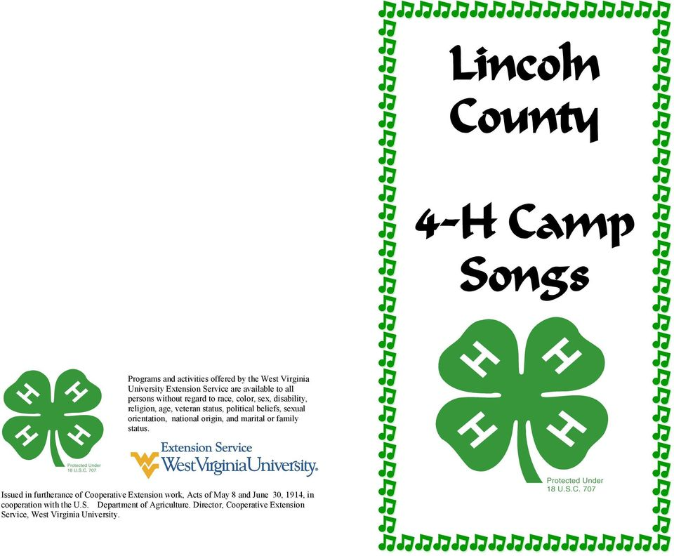 image about 4-h Pledge Printable identified as Lincoln County. 4-H Camp Tunes - PDF