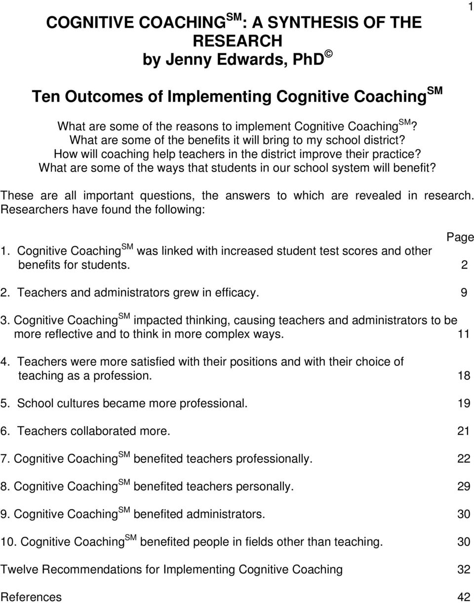 cognitive coaching questions