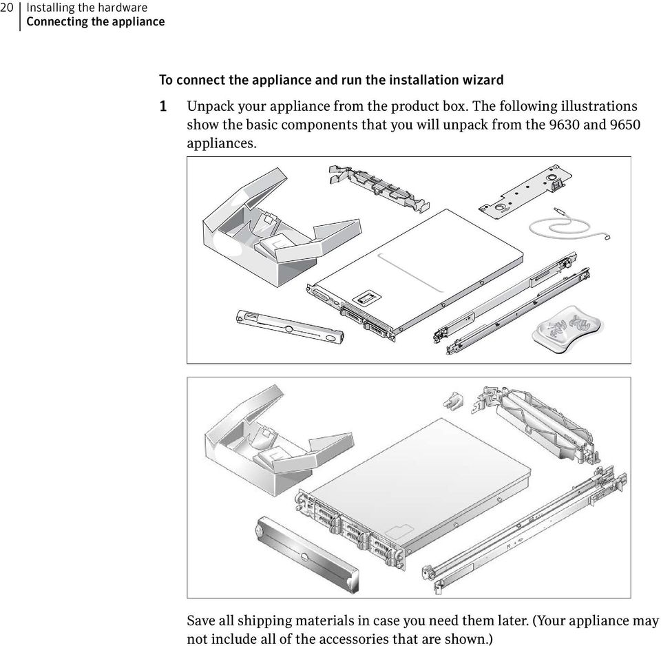 The following illustrations show the basic components that you will unpack from the 9630 and 9650