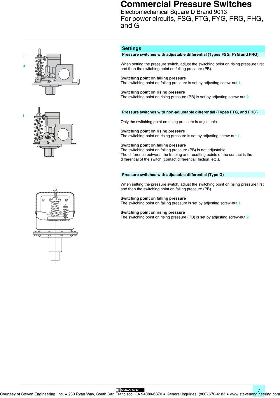 Pumptrol 9013 Wiring Diagram Commercial Pressure Switches Type F And Switching Point On Falling The Is Set By Adjusting Screw