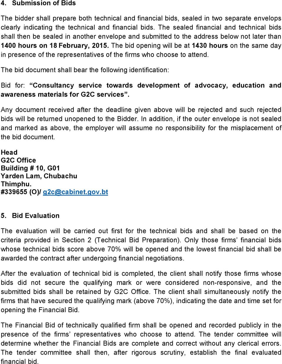 TENDER DOCUMENT FOR CONSULTING SERVICES TOWARDS DEVELOPMENT