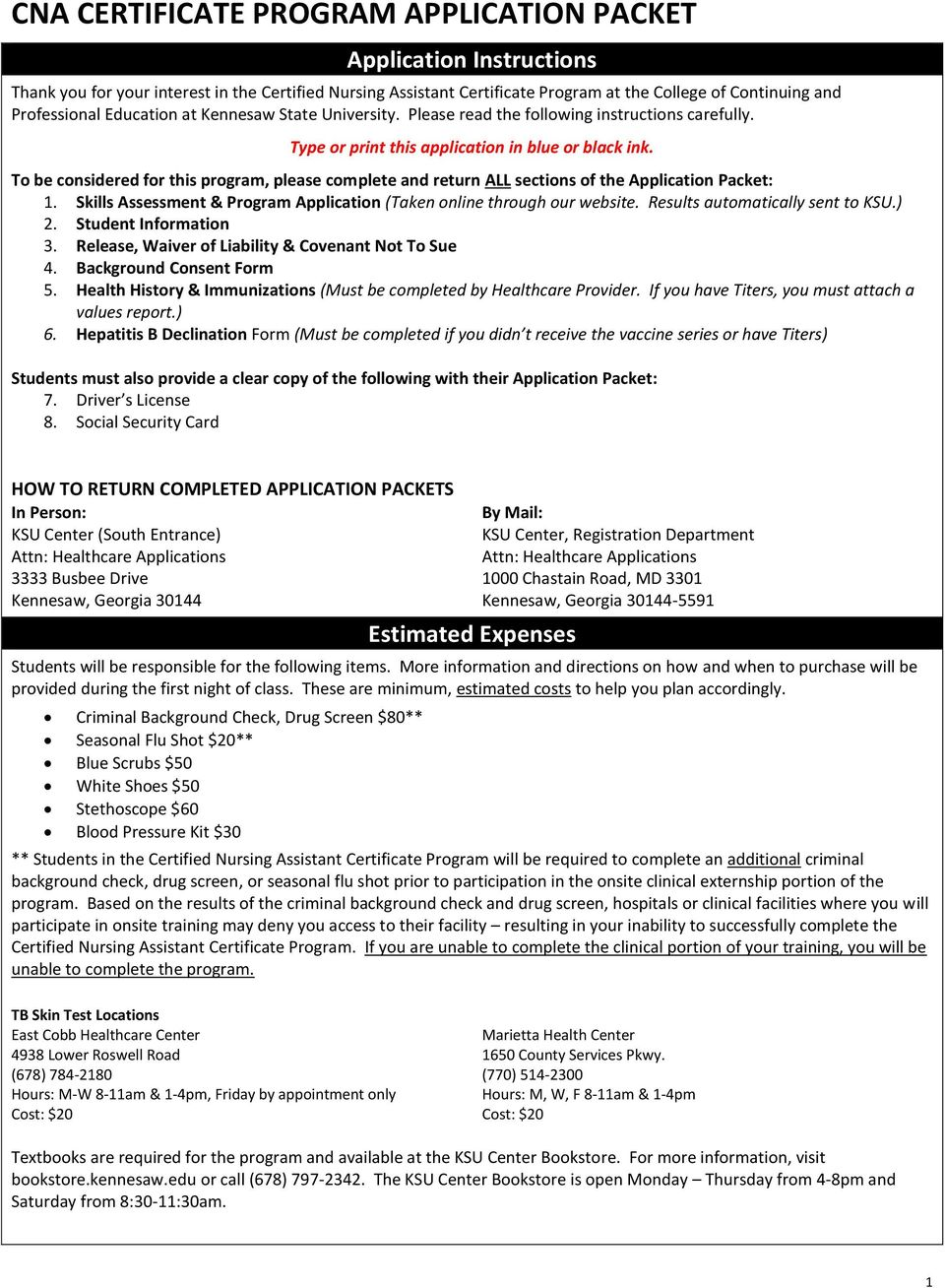 Cna Certificate Program Application Packet Pdf