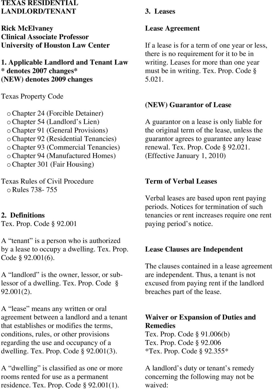 Texas Residential Landlordtenant 3 Leases Lease Agreement Rick