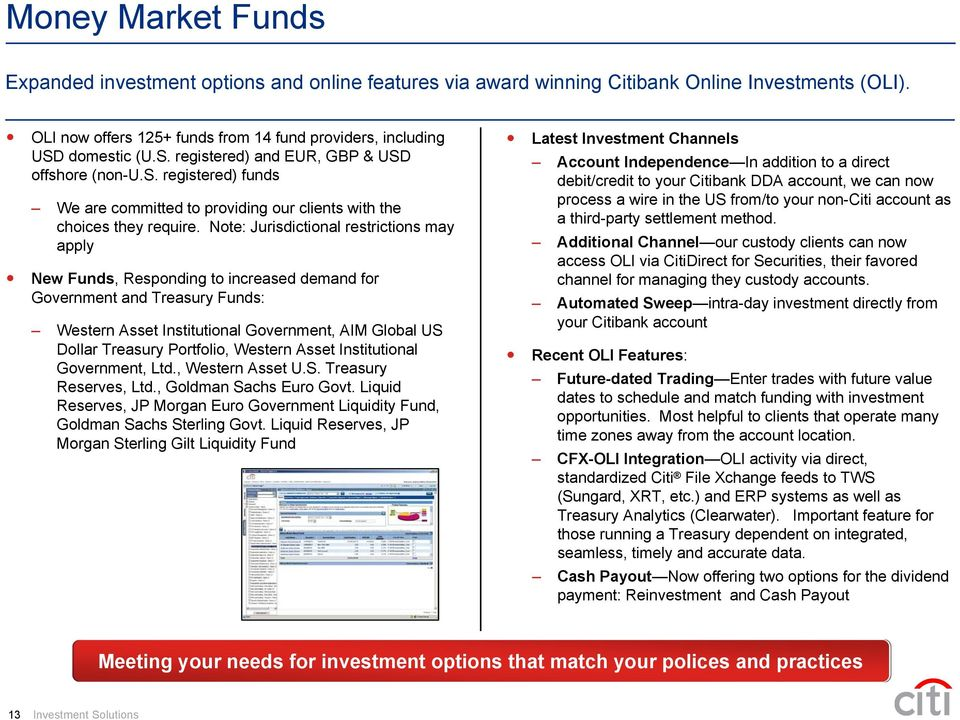 Note Jurisdictional Restrictions May Ly New Funds Responding To Increased Demand For Government And
