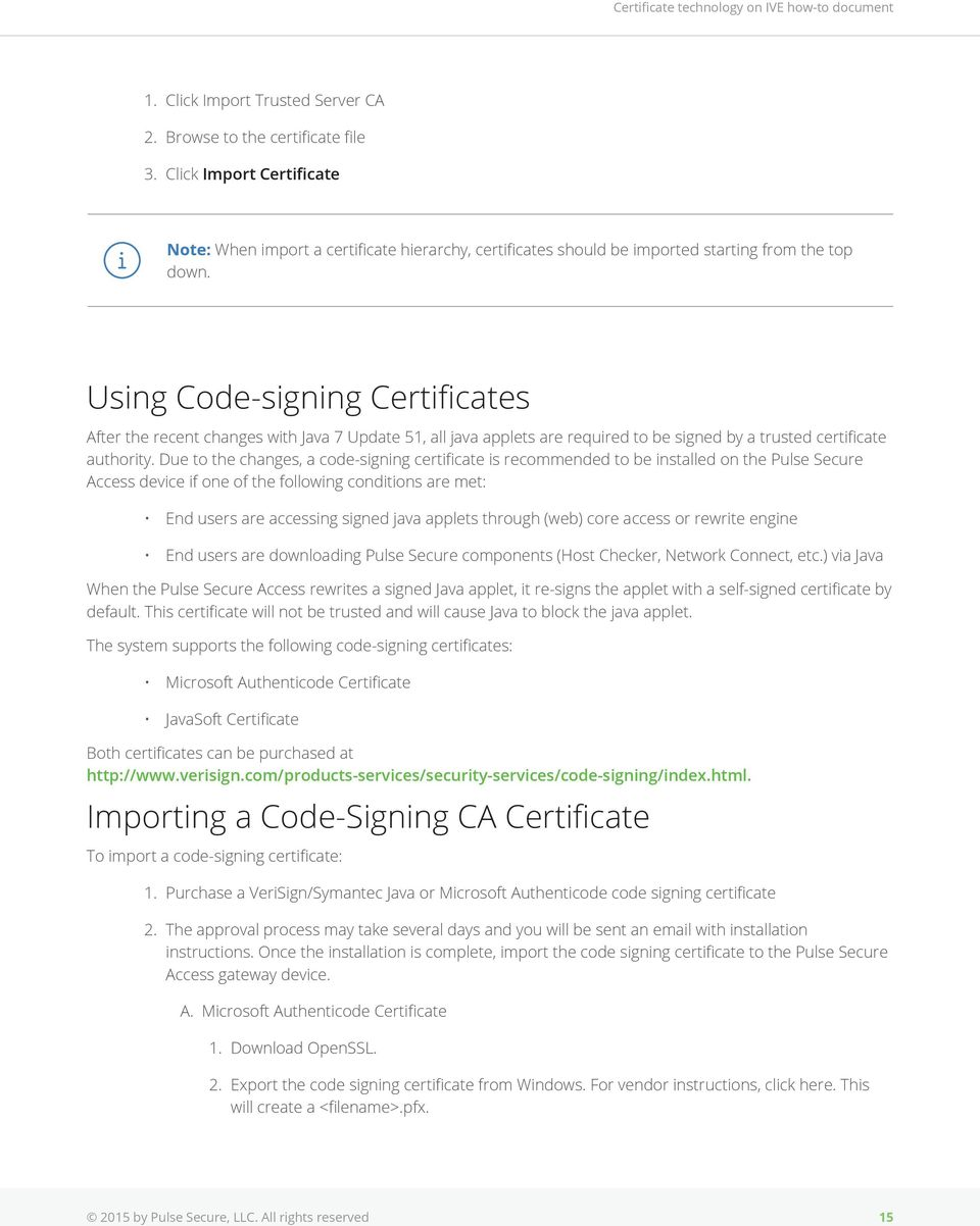 Certificate Technology On Pulse Secure Access Pdf