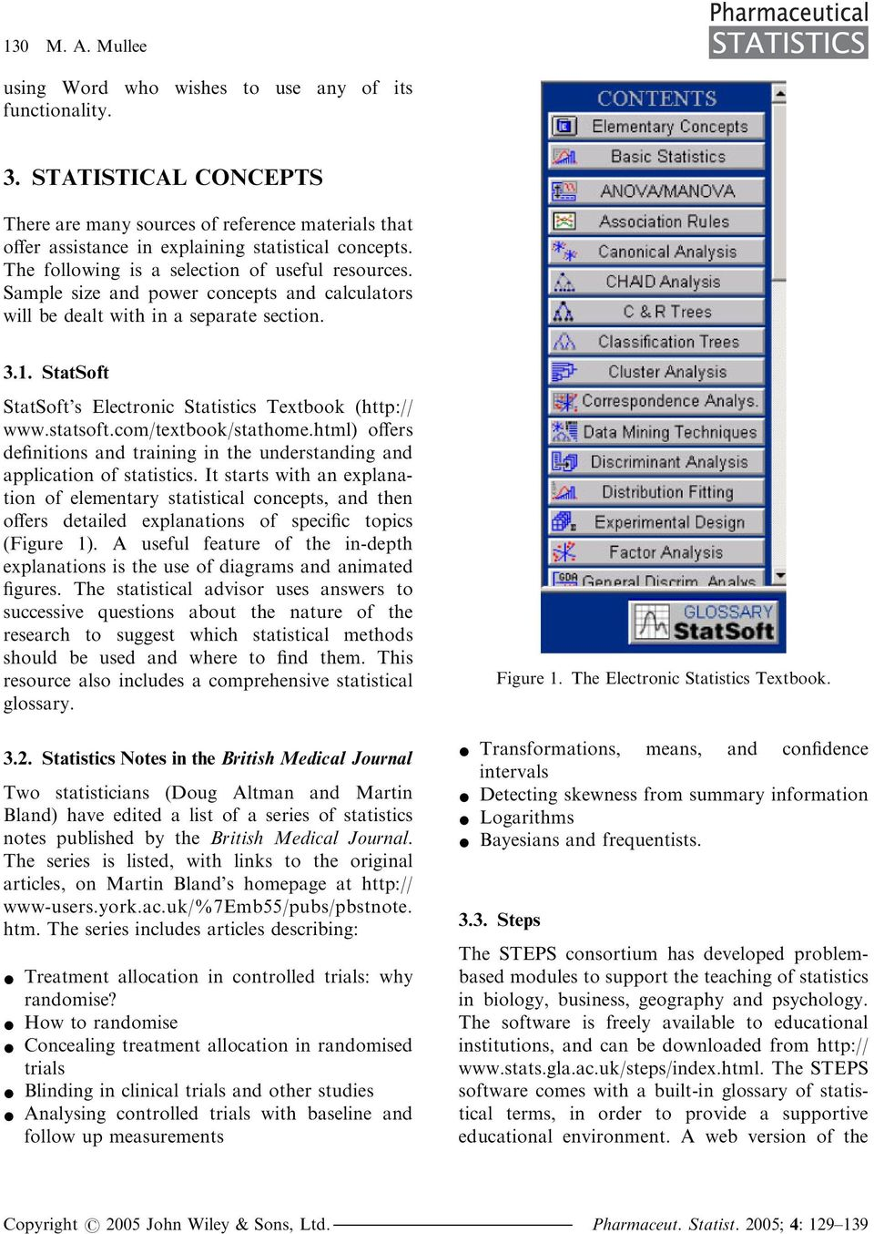 Web-based resources to assist the statistical analysis and