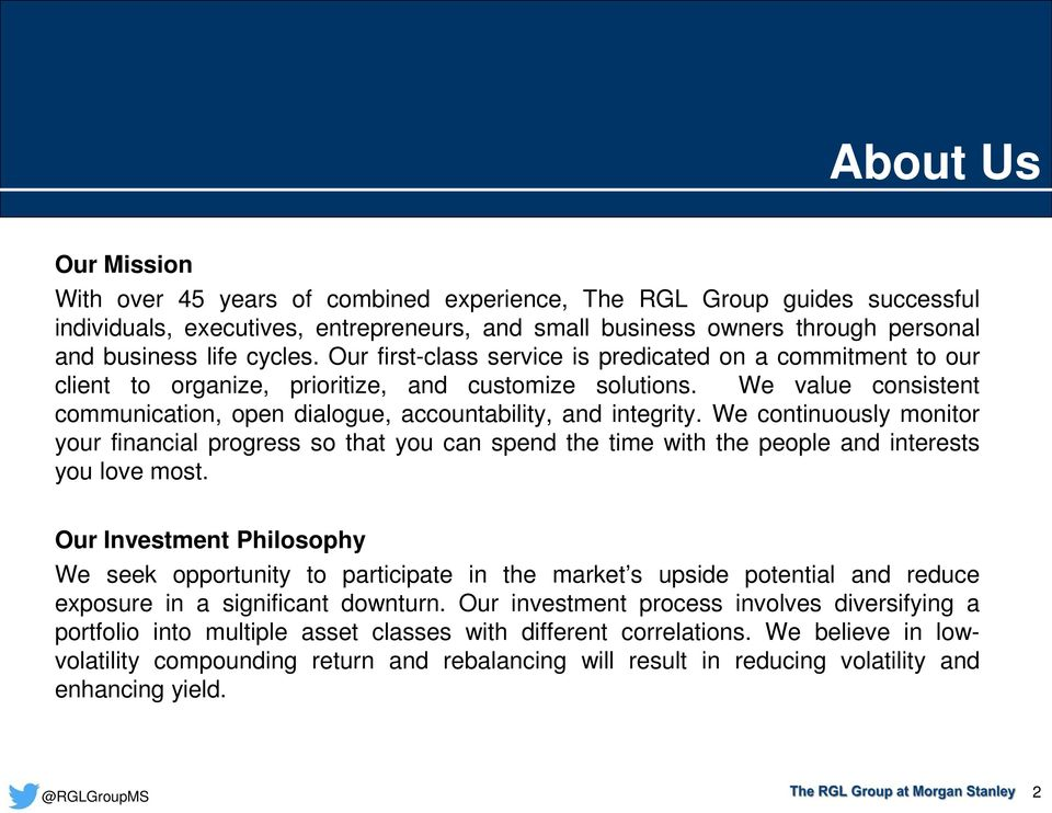 The RGL Group at Morgan Stanley: Working With You PDF