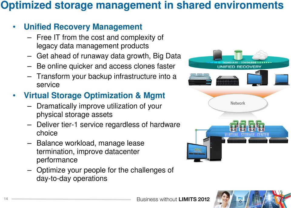 Virtual Storage Optimization & Mgmt Dramatically improve utilization of your physical storage assets Deliver tier-1 service regardless of hardware