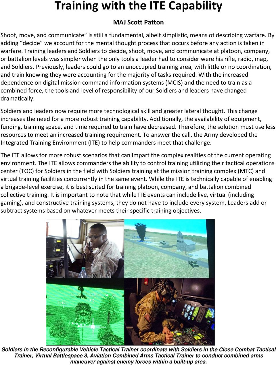 Training with the ITE Capability - PDF