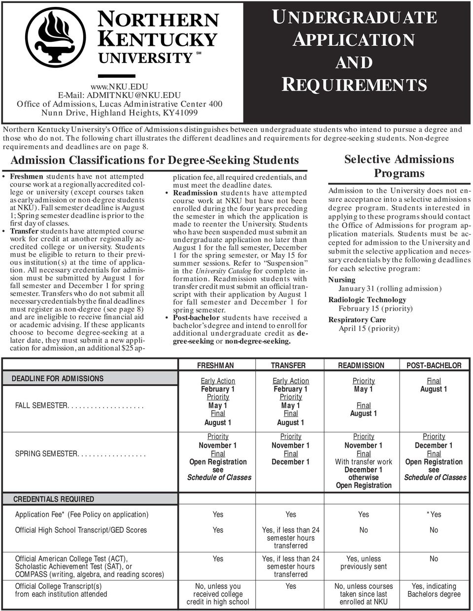 distinguishes between undergraduate students who intend to pursue a degree and those who do not. The following chart illustrates the different deadlines and requirements for degree-seeking students.