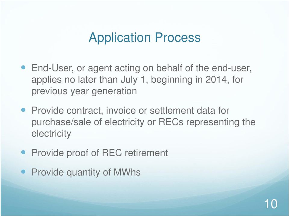contract, invoice or settlement data for purchase/sale of electricity or RECs