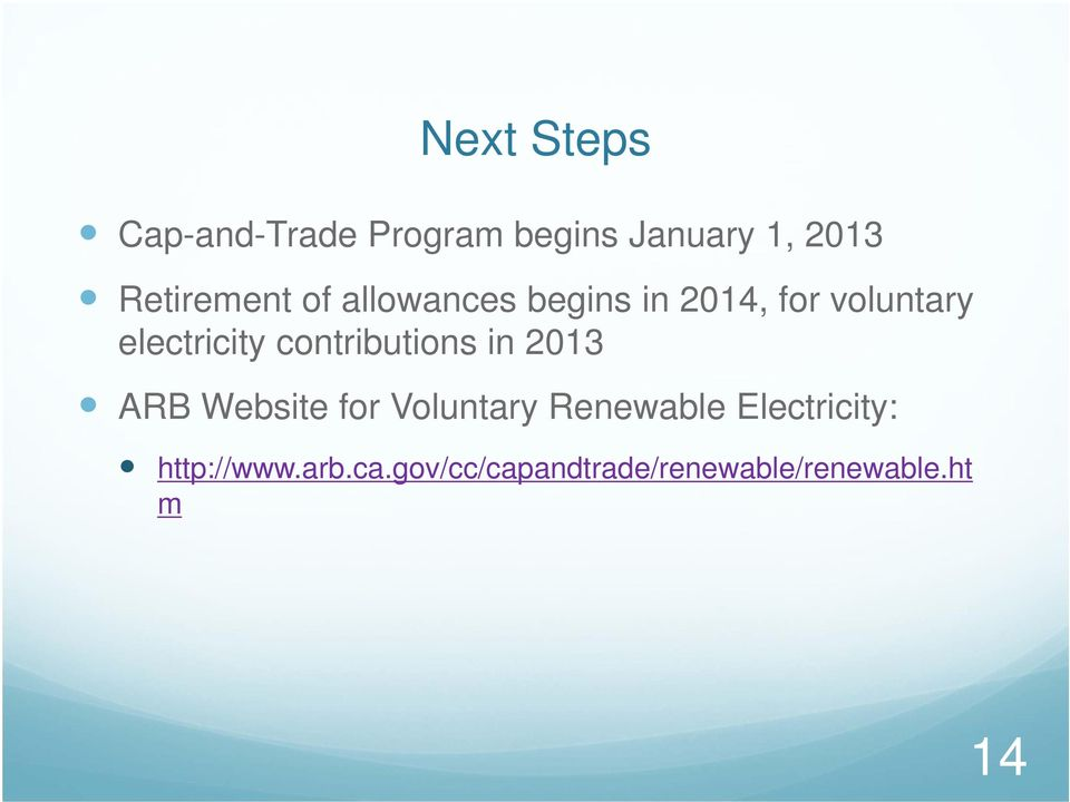 electricity contributions in 2013 ARB Website for Voluntary
